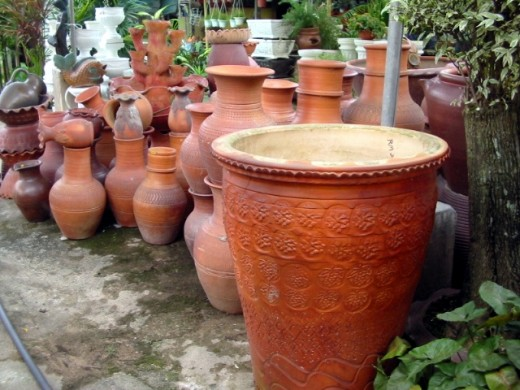 Clay pots make suitable homes for vegetables in a potted garden.