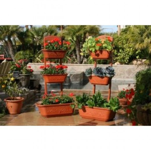 Vegetable Planter | Flower Planter | Outdoor Planters - Self Watering Red Planter Box by Monkey Pots!