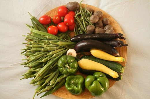Enjoy a week's worth of okra, tomatoes, potatoes,  peppers,  garlic, eggplant, squash, and beans.