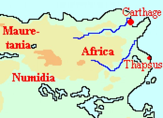 A Map of Tunisia, as it was in Caesar's time.