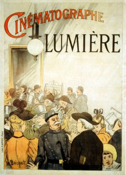 Poster advertising the Lumière brothers cinematograph in Paris, cca 1895.
