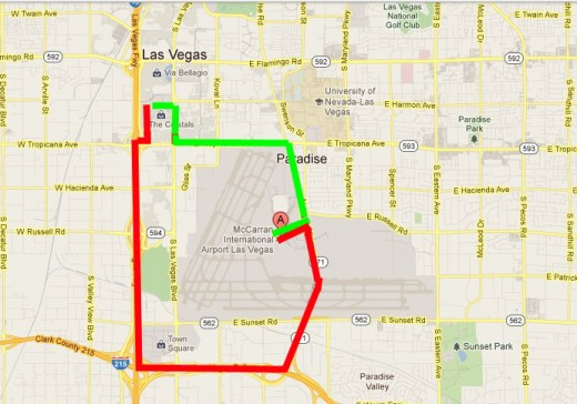 The GREEN line is the route a cab driver should take from the airport to the center strip (Harmon Ave. & Las Vegas Blvd.) The RED line is the route they usually take, to artificially increase the fare.
