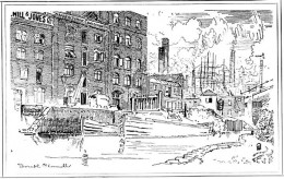 East End factory in the Victorian Age. Cartoon by Joseph Pennell.