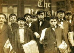 Newspaper boys in 1888 London.