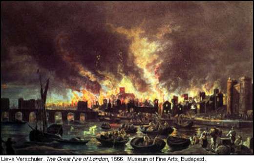 Painting by Lieve Verschuier depicting the great fire of London in 1666.