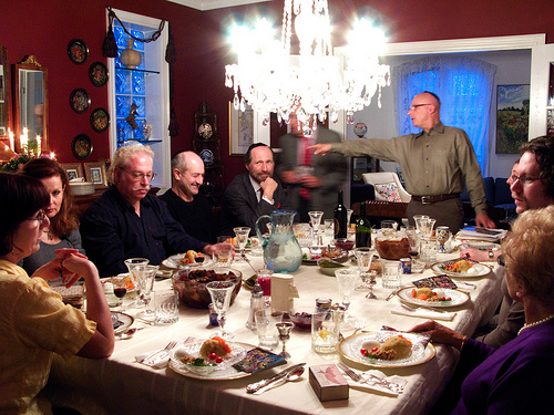 A lively seder table on Passover