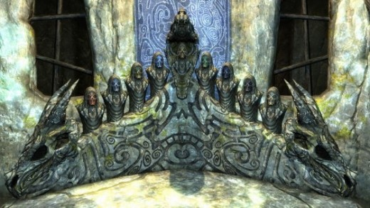 The Dragon Priest Shrine with all masks on it.