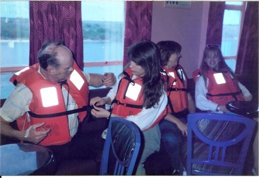 Checking life jackets