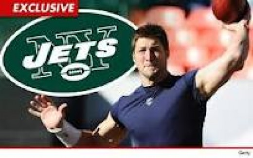 This picture implies that Tim Tebow can throw, but don't worry it's just an illusion