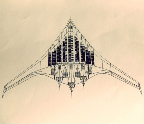 """- Vertical """"Sliced from Top"""" Arial View - Animated illustration of the interior which allegedly seats 1,000 Passengers - 3 Rear Engines, & Distinct """"Triangle"""" shape clearly visible -"""