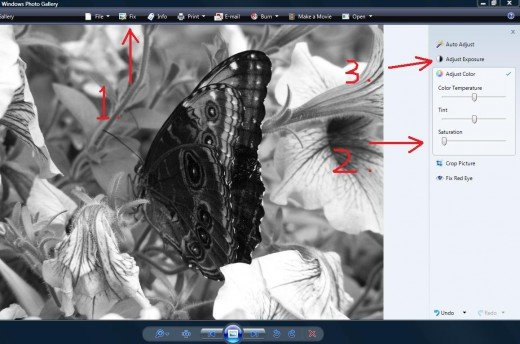 "Edit using Windows Photo Gallery by doing these three steps.  Click ""Fix,"" go to ""adjust color and lower the saturation, and then go to ""adjust Exposure to raise the contrast and brightness."
