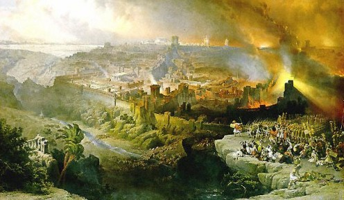 The Siege and Destruction of Jerusalem by the Romans Under the Command of Titus, A.D. 70, by David Roberts (1850), shows the city burning