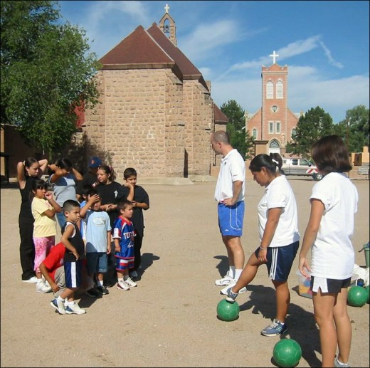 Volunteers working with inner city youth.
