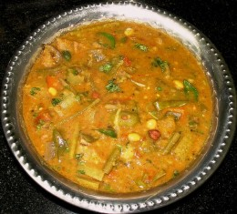 Sambar is a stew made in southern regions of India and it is delicious.