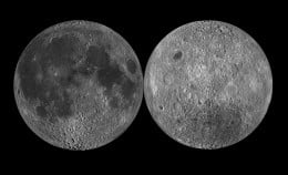 The near and far faces of the Moon. The Moon's face turns as it orbits, so that we always see the same side. That's one of the things that makes our Moon special!