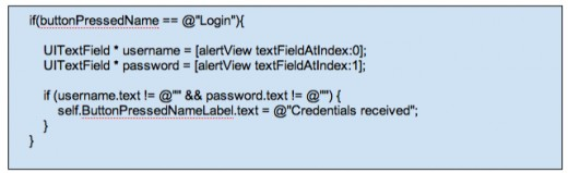 Figure 12 - Get Login UITextField Values