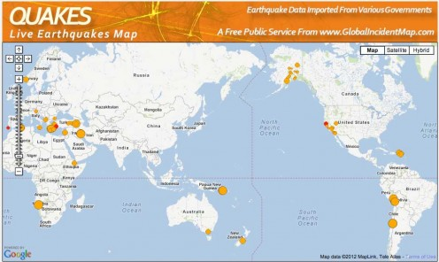 Today's earthquakes are relatively light in the Pacific Ring of Fire, although activity is picking up in Europe and the Middle East.