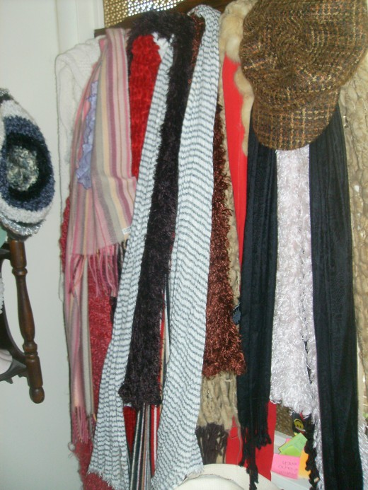My collection of scarves...and more hats!