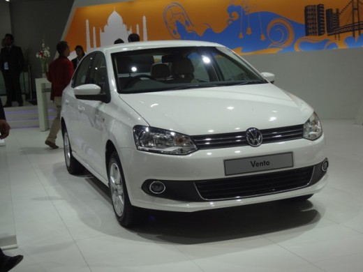 Delhi auto expo 2012 displaying White colored Volkswagen Vento