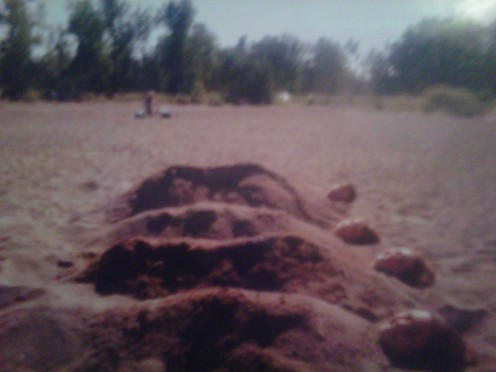 Getting buried in the sand on the beach in Erie!