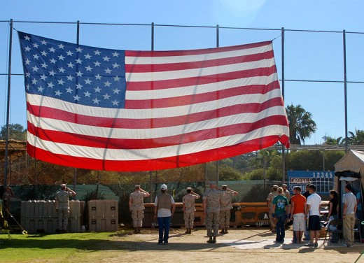 The Star Spangled Banner at the 20th Annual Stand Down for homeless veterans.