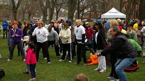 Walkers in the May 1, 2011 warm up at the Hike for Hospice in Cabbagetown, Toronto ON Canada