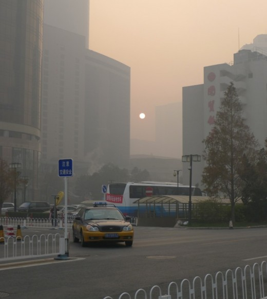 A smoggy sunrise in Beijing
