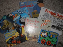 A small gathering of a subsection of my son's books about trains!