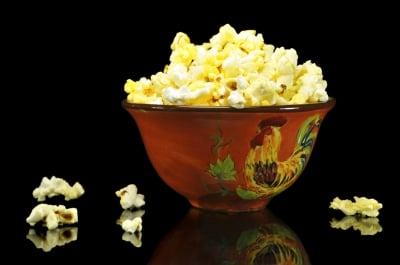 Homemade popcorn made with organic popcorn kernels is the healthiest option.