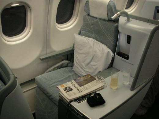 Finnair's solo seat in their refurbished business class cabin offers high levels of comfort