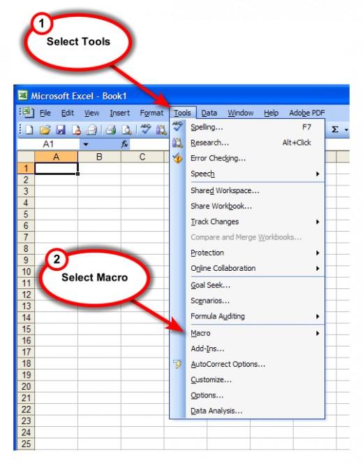 Figure 2. Tools, Macros, and then Visual Basic Editor