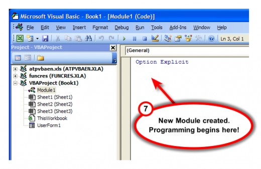 Figure 6. New module ready for coding