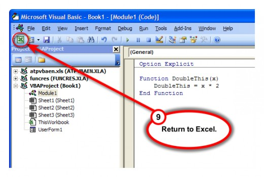 Figure 8.  Use Excel icon to switch back to spreadsheet