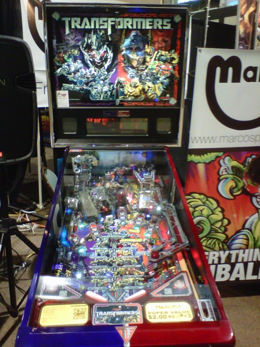 George Gomez's Transformers pinball at Marco Specialties booth.  Texas Pinball Festival 2012.