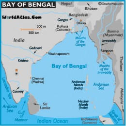 the bay of bengal in the northern indian ocean is the world's largest bay. It measures 839,000 sq. miles or 2,173,000 sq. km.