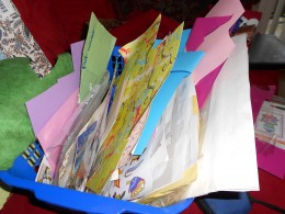 Collect scrap papers from larger sheets, greetings cards and bags.  Notions and stickers can be found at the local dollar store.