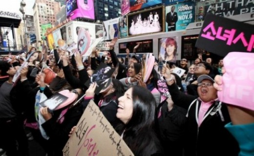 K-pop Fans in Time Square