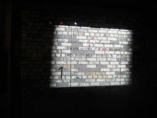 An actual piece of the wall from the Chicago warehouse where the St. Valentine's Day massacre occurred.
