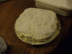 My 03/2012 Birthday cake. Coconut Cake. My hubby made it, with a little supervision from me. This was his first cake he ever made. I was so proud of him ^_^