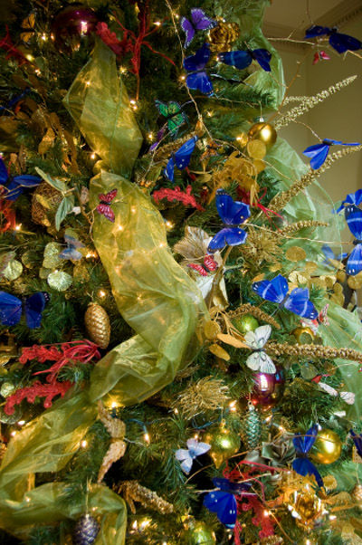Holiday Tree with Silk Butterflies