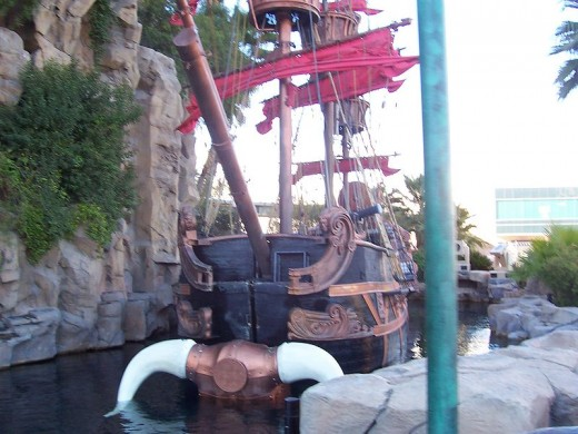 Pirate ship waiting to begin a show at the Treasure Island hotel on the strip in Las Vegas.