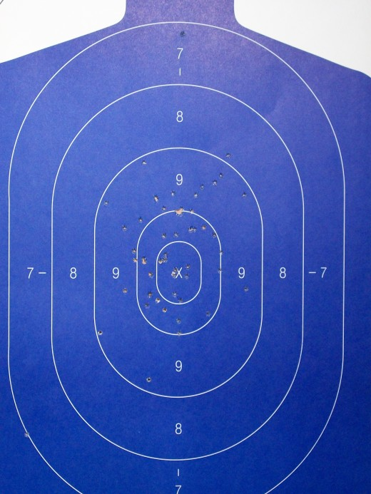 My shooting target from Ultimate Defense firing range. First time with three different handguns went very well. My target was dead with the first round.
