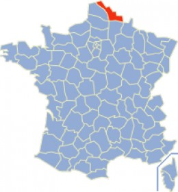 Map location of Nord department, France
