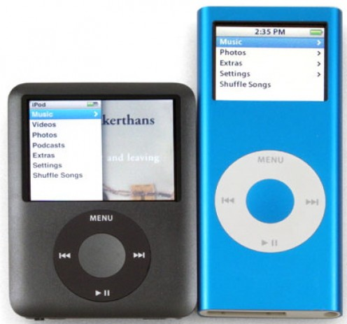 The third-generation iPod nano is on the left and the second-generation iPod nano is on the right.
