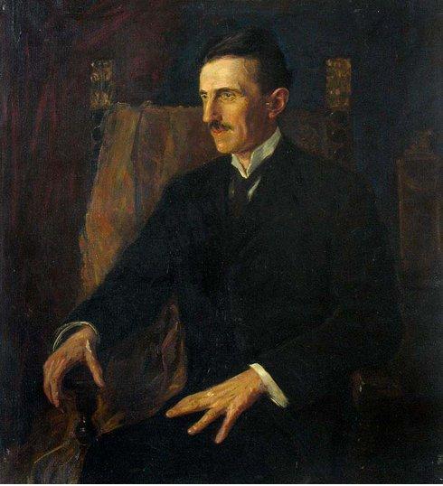 """Tesla's Famous """"Blue Portrait,"""" painted in 1916"""