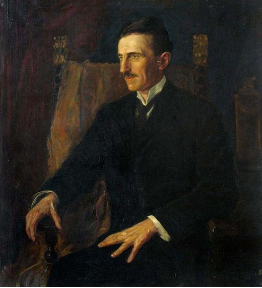 "Tesla's Famous ""Blue Portrait,"" painted in 1916"