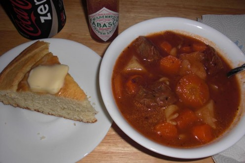 My homemade beef stew with carrots, potatoes, onions, celery and rotini pasta swimming in a beefy tomato broth!  Pass the cornbread please!