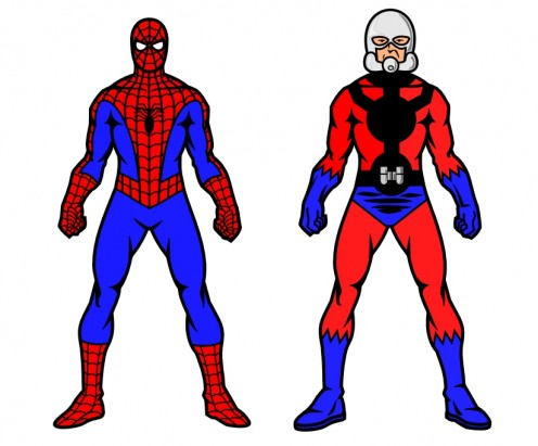 Comparison of Spider-Man and Ant-Man costumes. Illustration by Doc Sonic. Spider-Man and Ant-Man are copyright Marvel Comics.