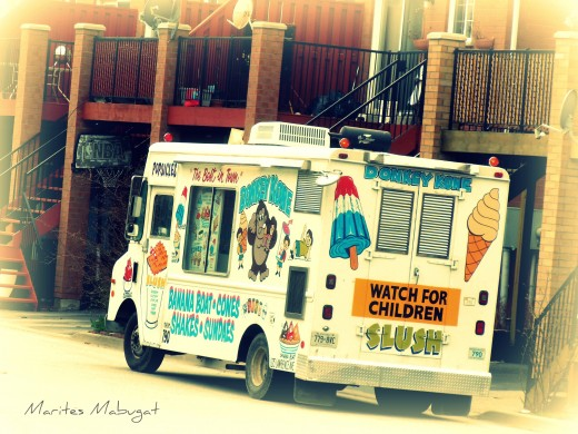 This ice cream truck comes around on Sunday mornings. Gotta leave some change to get my ice cream!