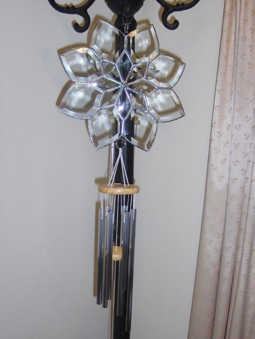Large Snowflake Beveled Glass Wind Chimes